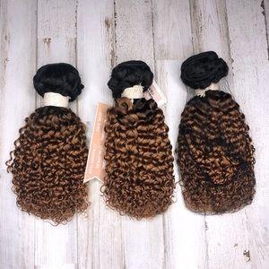 """Human Hair Kinky Curly Ombre Hair Bundles 10"""""""